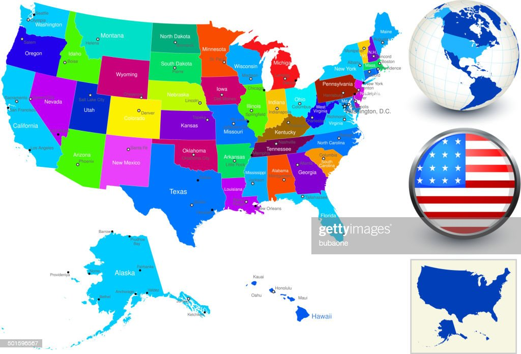 Vector World Map Geography Of United States High-Res Vector ...
