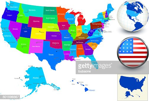 Vector World Map Geography Of United States High