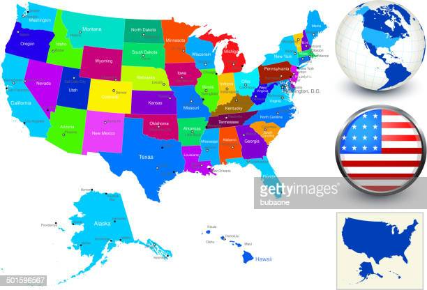 Vector World Map Geography of United States