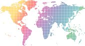 Vector world map illustration with colorful dots