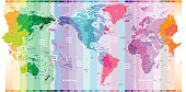 vector world map of local time zones centered by America