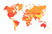 Vector World map with countries borders. Abstract red and yellow World countries on map