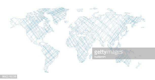 vektor-weltkarte mit einzeiligen isoliert auf weißem hintergrund - europa kontinent stock-grafiken, -clipart, -cartoons und -symbole