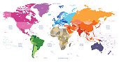 vector world political map colored by continents with country and geographical objects names