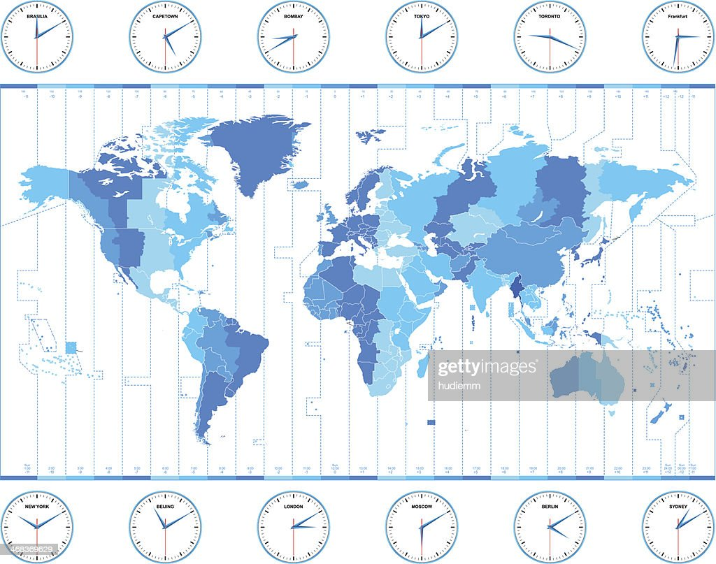 Vector world time zones vector art getty images vector world time zones vector art gumiabroncs Image collections