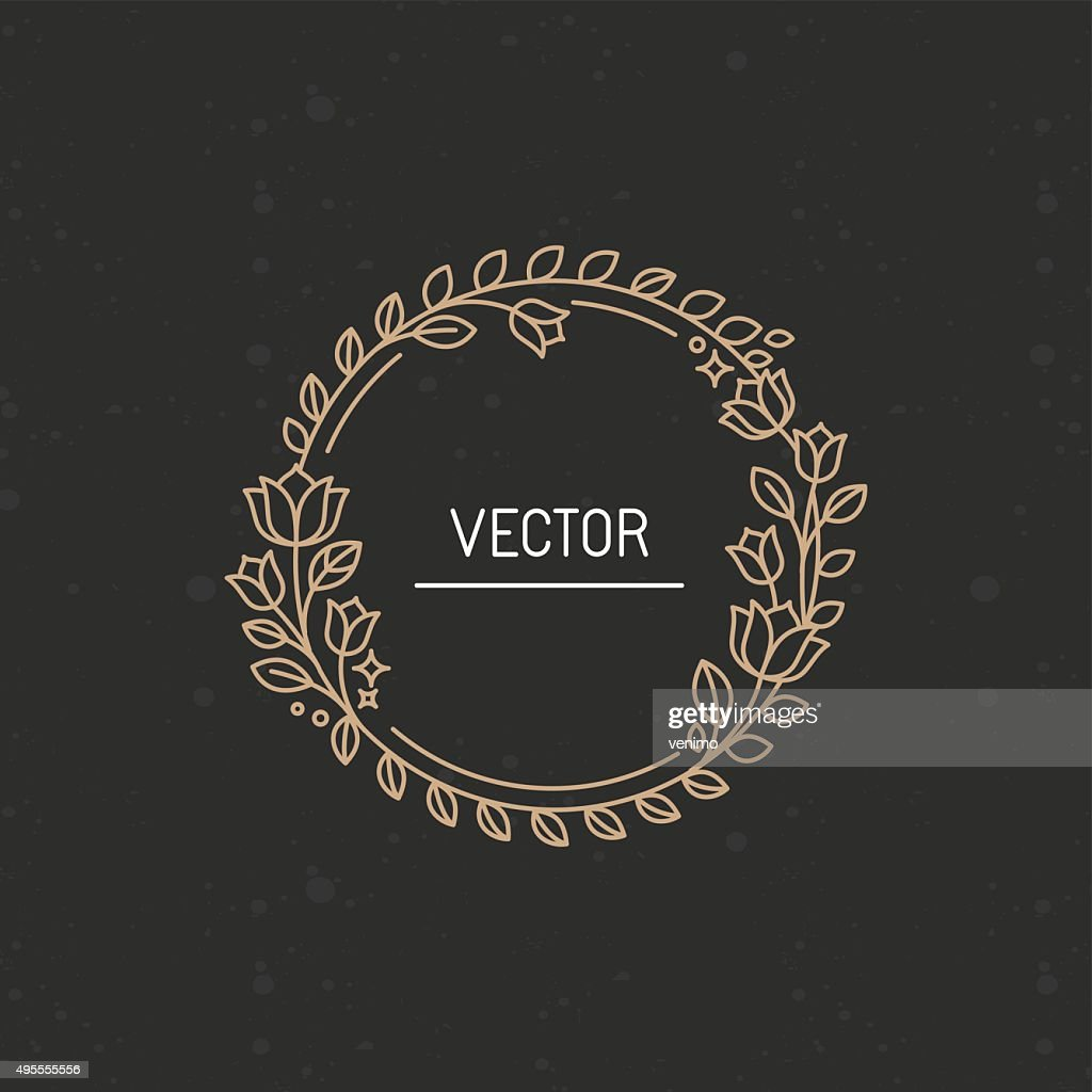 Vector wreath made with branches, leaves and flowers