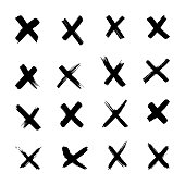 Vector X marks, Hand-draw cross, Letter x brush strokes