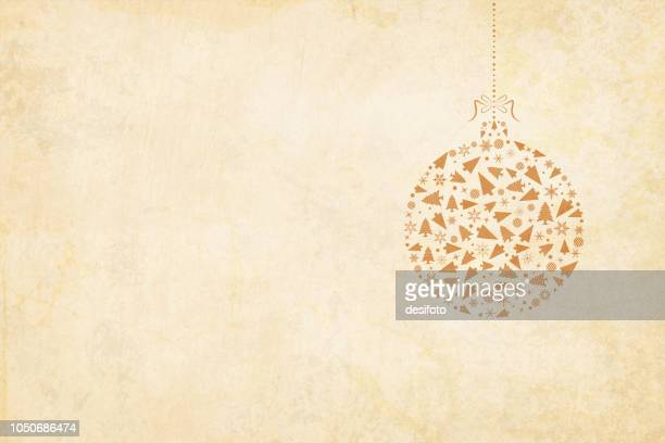 vector xmas background. beige vintage paper with a suspended christmas bauble to the right in the frame. the bauble is hanging by a ribbon tied into a bow on the top. - tradition stock illustrations