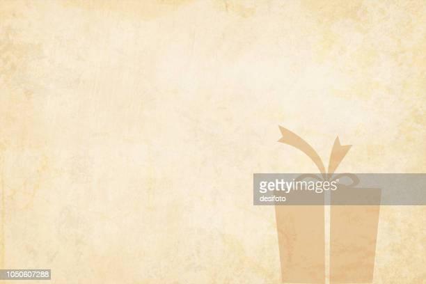 クリスマスのベクトルの背景。フレームの右側にラップされたギフト ボックスとベージュのビンテージ紙。ボックスにリボンを結んで上に弓にはします。 - 大昔の点のイラスト素材/クリップアート素材/マンガ素材/アイコン素材