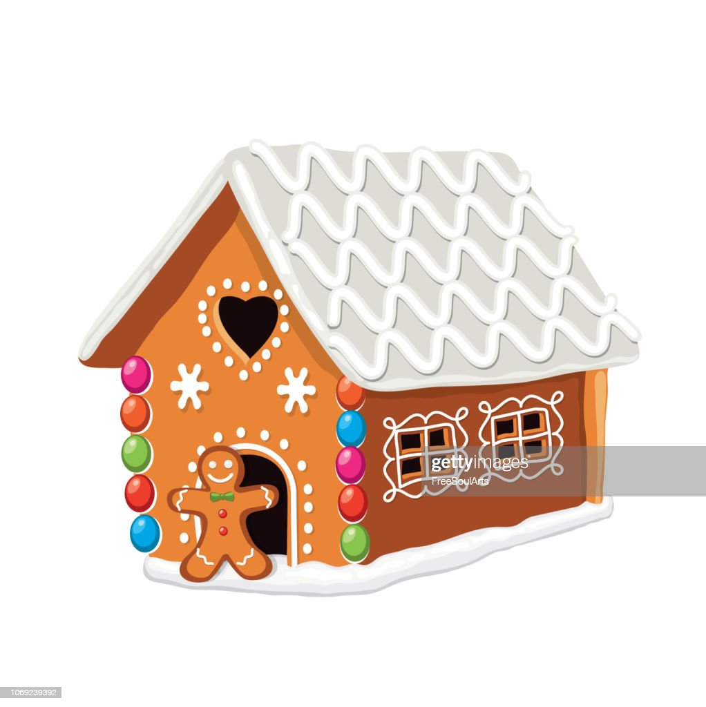 vector xmas colorful gingerbread house