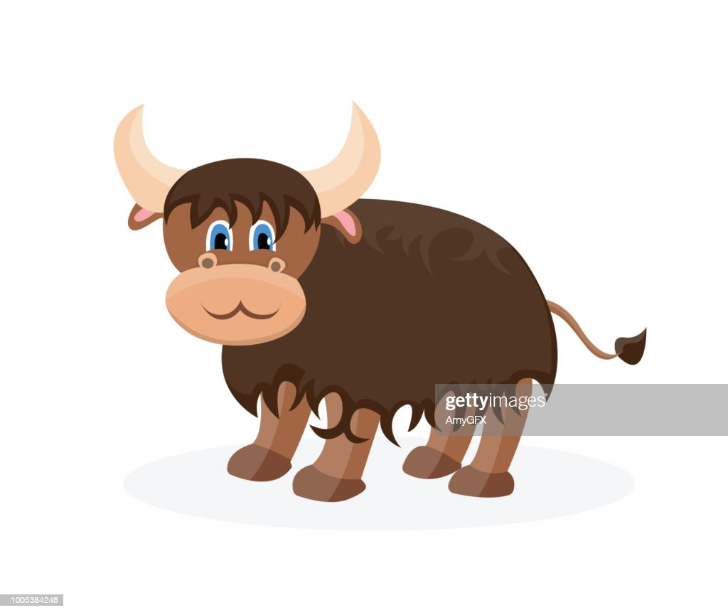 Vector yak cartoon character. Cute illustration for child book.