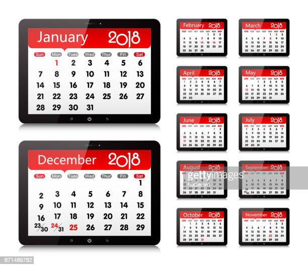 Vector Year of 2018 Calendar in Digital Tablet PC Isolated