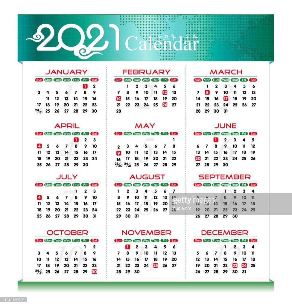 Vector Year Of 2021 Calendar Background High-Res Vector ...
