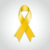 Vector Yellow awareness ribbon on white background. Bone cancer support
