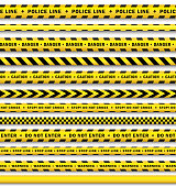 vector yellow black police tape set isolated