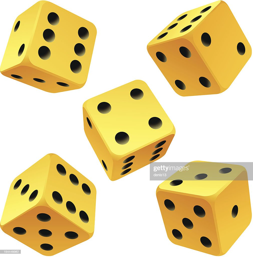 Vector yellow dice set on white background