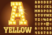 Vector yellow electric light up lamp alphabet in hard font