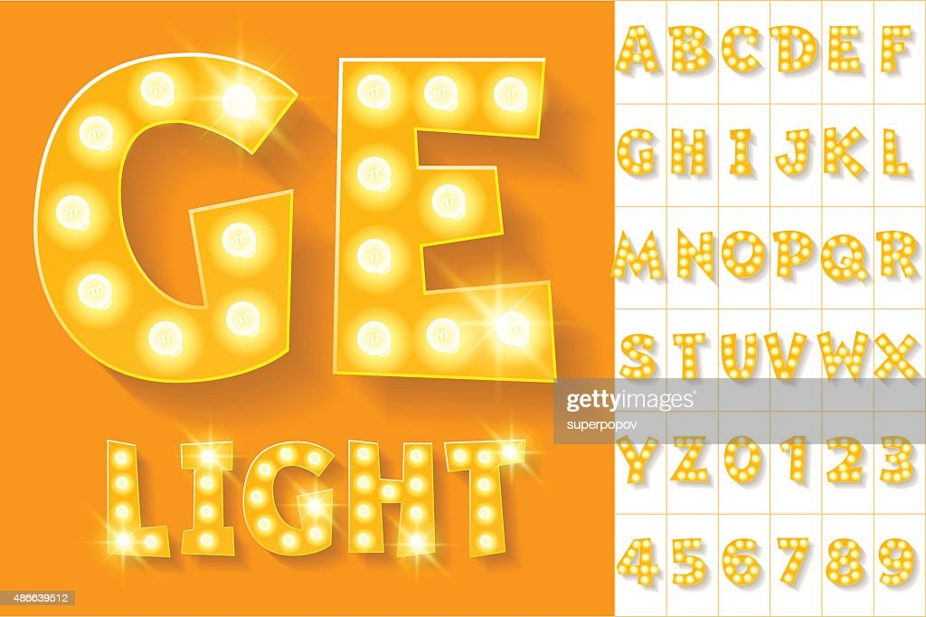 Vector yellow lamp alphabet for theatre, cinema and other entertainment