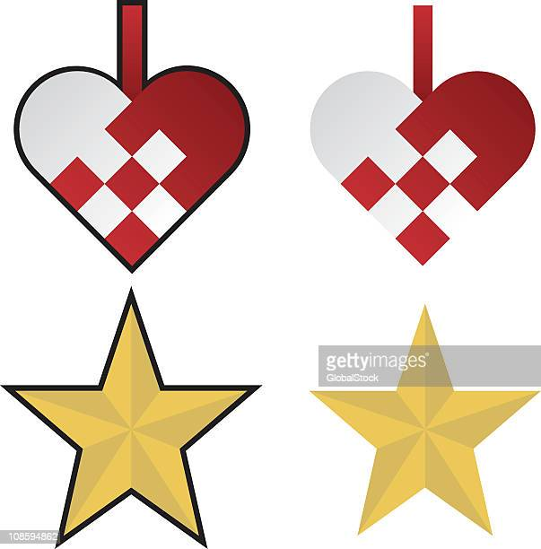 Vector yellow stars and red hearts Christmas ornaments