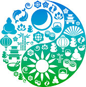 Vector Yin-Yang - collection of oriental icons