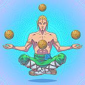 Vector yoga man in a lotus position.