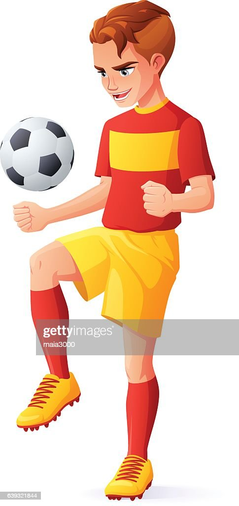 Vector young football or soccer player boy juggling with ball.