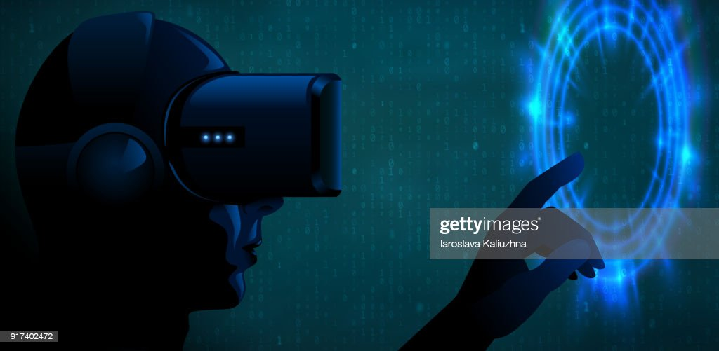 Vector young man wearing virtual reality headset 3d glasses and touch blue glow portal or futuristic interface. Cyber silhouette character dark techno vr banner. Turquoise binary code background