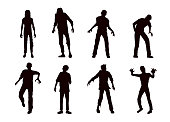 Vector zombie collection in silhouette style.