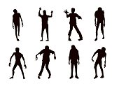 Vector zombie collection in silhouette style