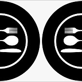 Vectored image of white cutlery on white plates