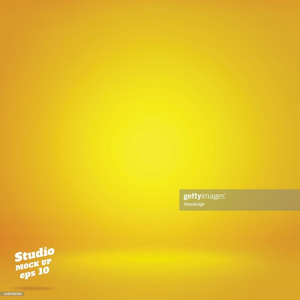 Vector,Empty vivid lighting yellow studio room background ,Templ