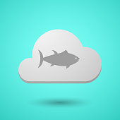 Vectorial cloud with  a tuna fish