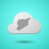 Vectorial cloud with  the map of Syria