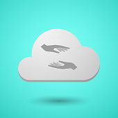 Vectorial cloud with  two hands giving and receiving  or protecting