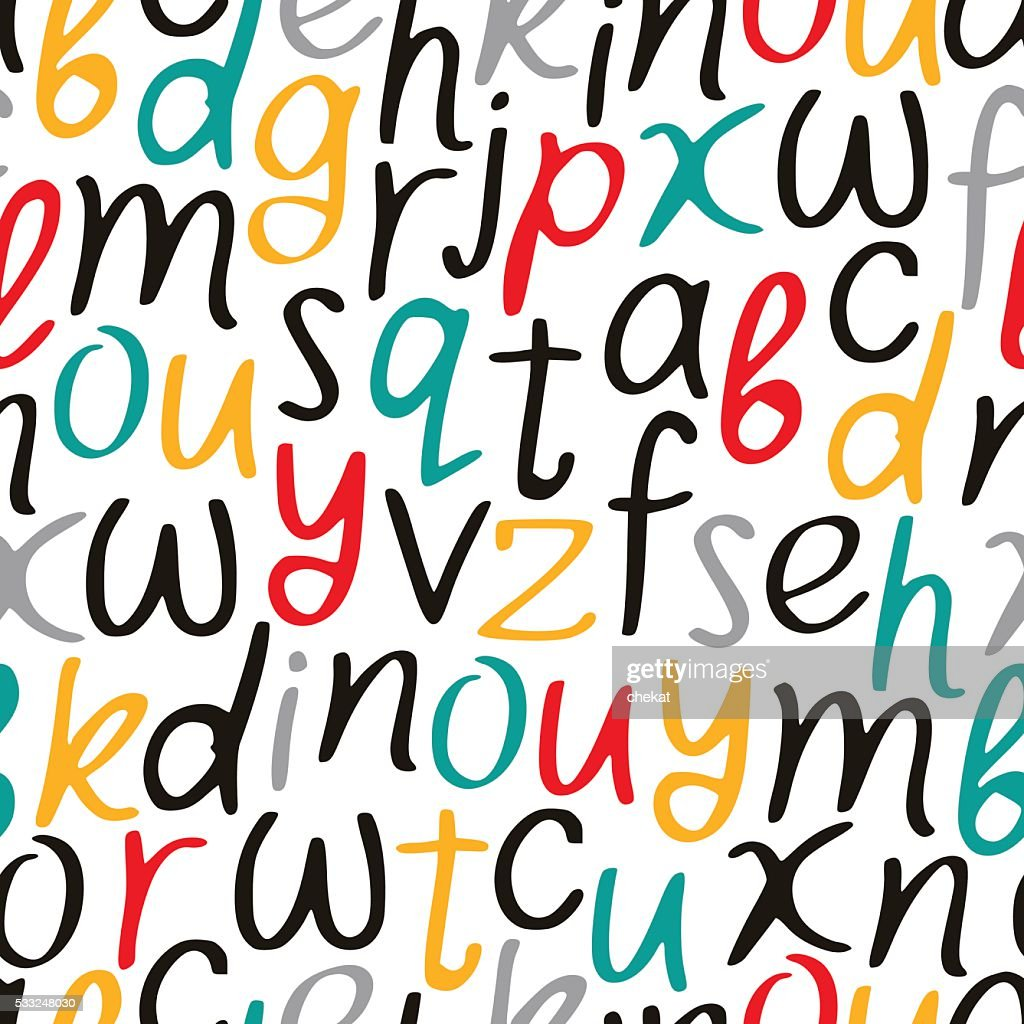 Vectorial seamless pattern of letters of the alphabet