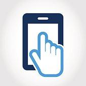 Vectoricon design template. Touch screen smartphone icon.