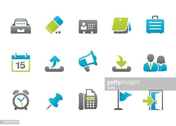 vectorized blue and green business icons - rolodex stock illustrations, clip art, cartoons, & icons