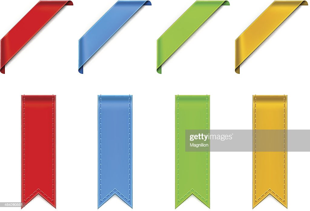 Vectorized drawing four colored ribbons : stock illustration