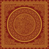Vectorized image of golden circle with chakras and mandalas