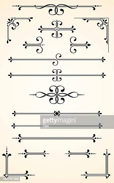 vectorized scroll set - antique stock illustrations