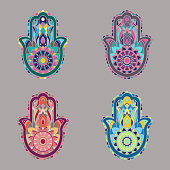 Vectors of colored hamsa hands in various colorful palettes