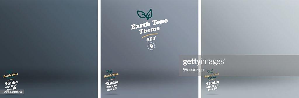 Vector,set of Empty earth tone blue color studio room