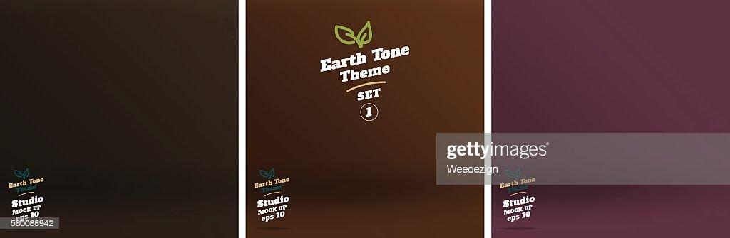 Vector,set of Empty earth tone brown color studio room