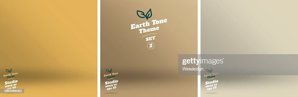 Vector,set of Empty earth tone yellow color studio room
