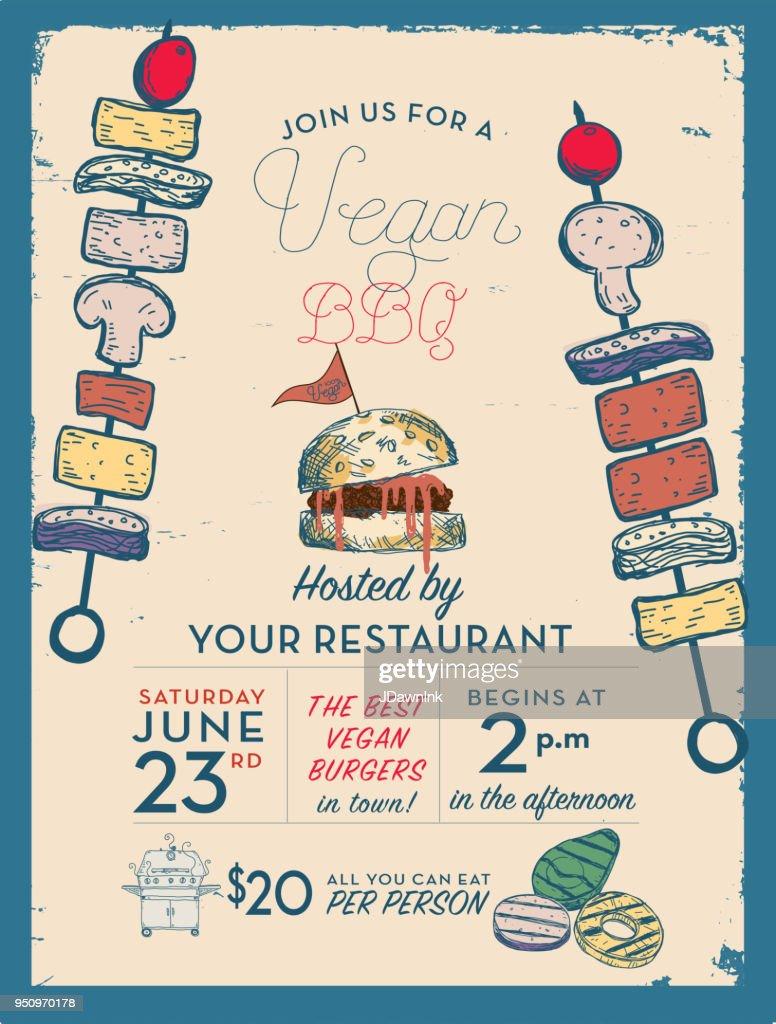 vegan barbecue invitation design template vector art getty images