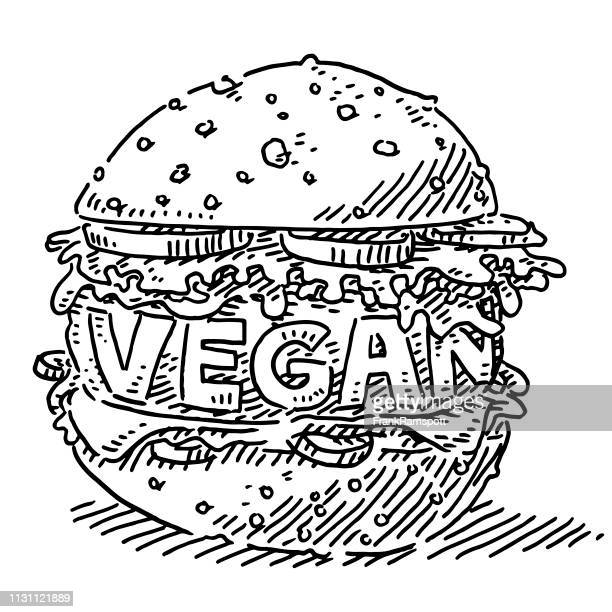 Vegane Burger Alternative Food Drawing