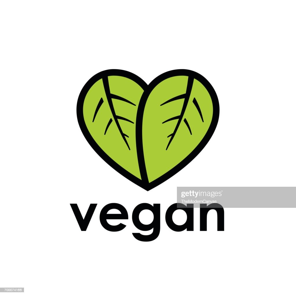 Vegan diet icon with leaf in heart shape