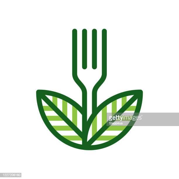 ilustraciones, imágenes clip art, dibujos animados e iconos de stock de concepto de comida vegana - tenedor