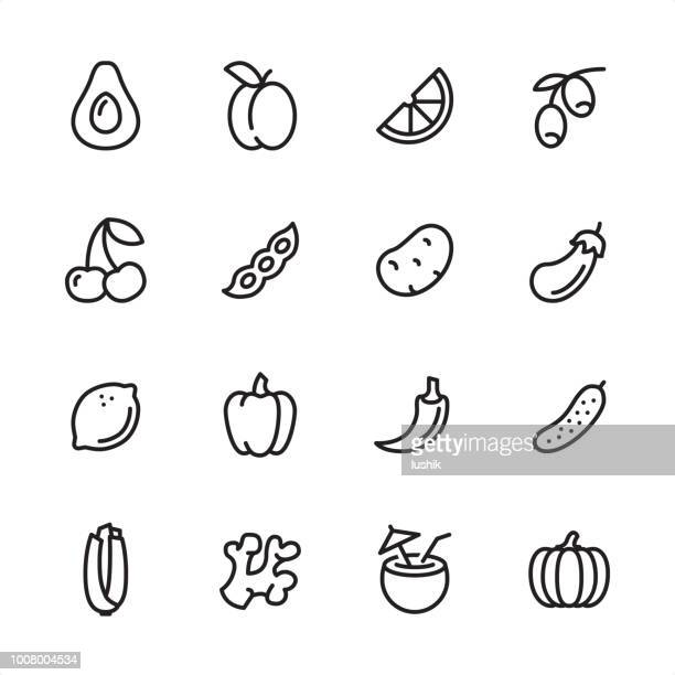 vegan food - outline icon set - bean stock illustrations