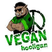 Vegan hooligan - boar. Vector illustration. T-shirt print. Eps 10